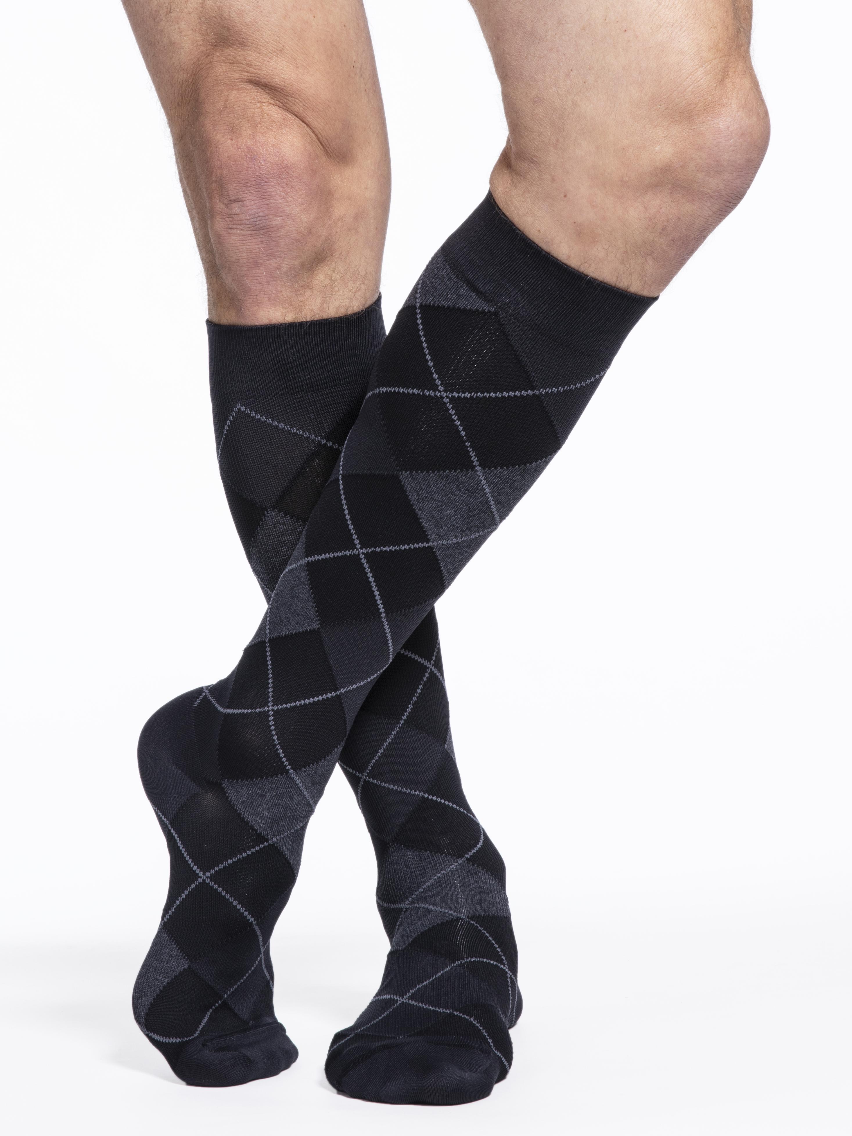 Men's Microfiber Shades Calf Onyx Argyle 6.5 - 8.5