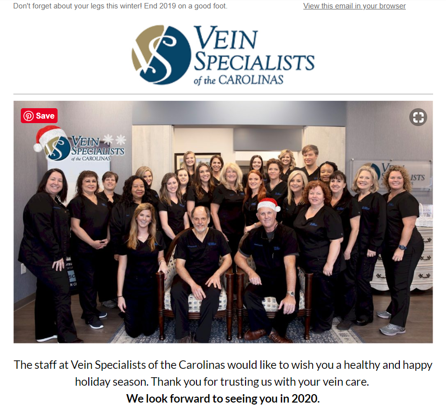 Vein Specialists of the Carolinas Wishing You A Healthy and Happy Holiday Season!