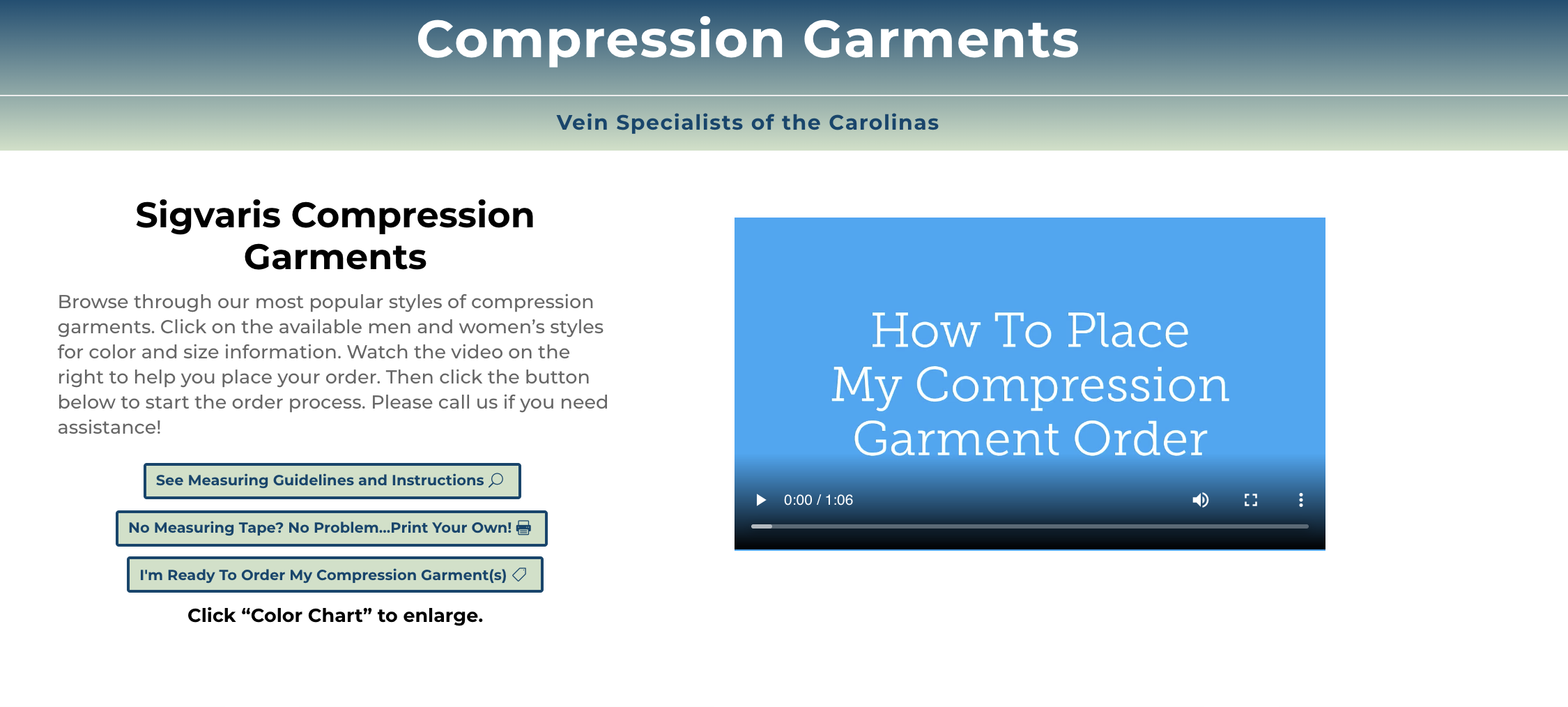 Select and Order Compression Garments From Our Website